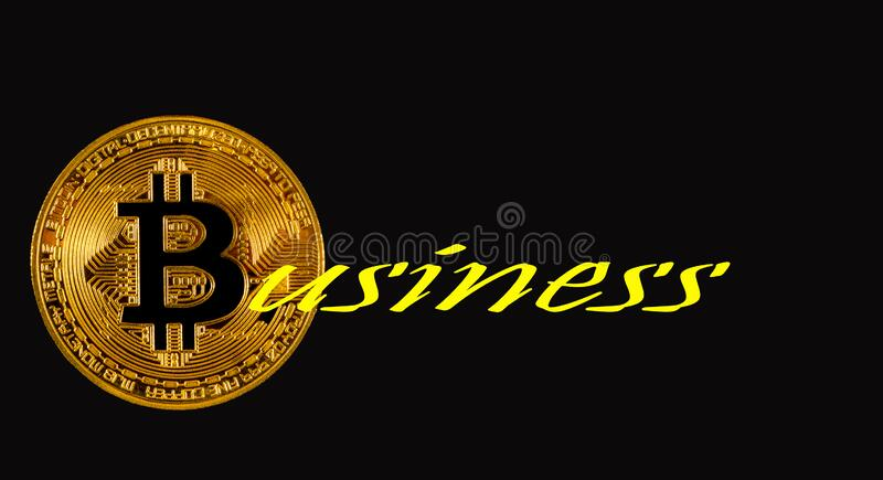Word business with bitcoin gold coin royalty free stock photos
