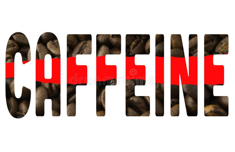 The word caffeine. On a white background royalty free stock image