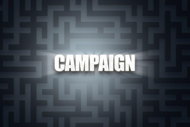 Word of Campaign on Dark Maze. Illustrative word of campaign with white letters on dark maze background royalty free illustration