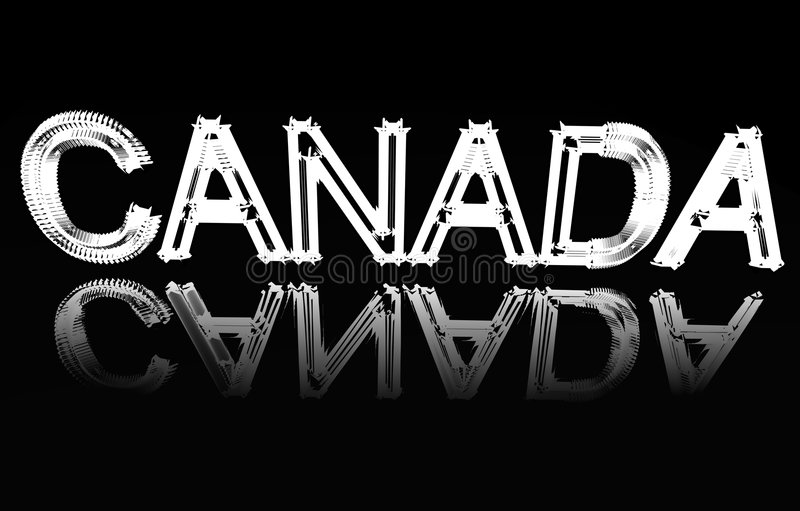 The word Canada. The word Canada which is on a mirror vector illustration
