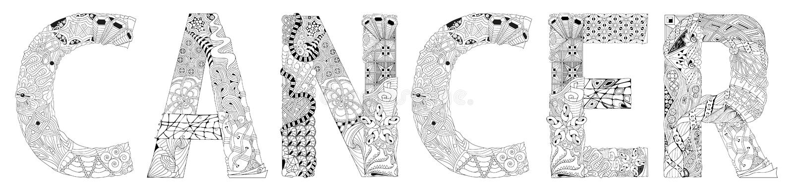 Word CANCER. Vector zentangle object for decoration. Hand-painted art design. Hand drawn illustration CANCER word for t-shirt and other decoration royalty free illustration