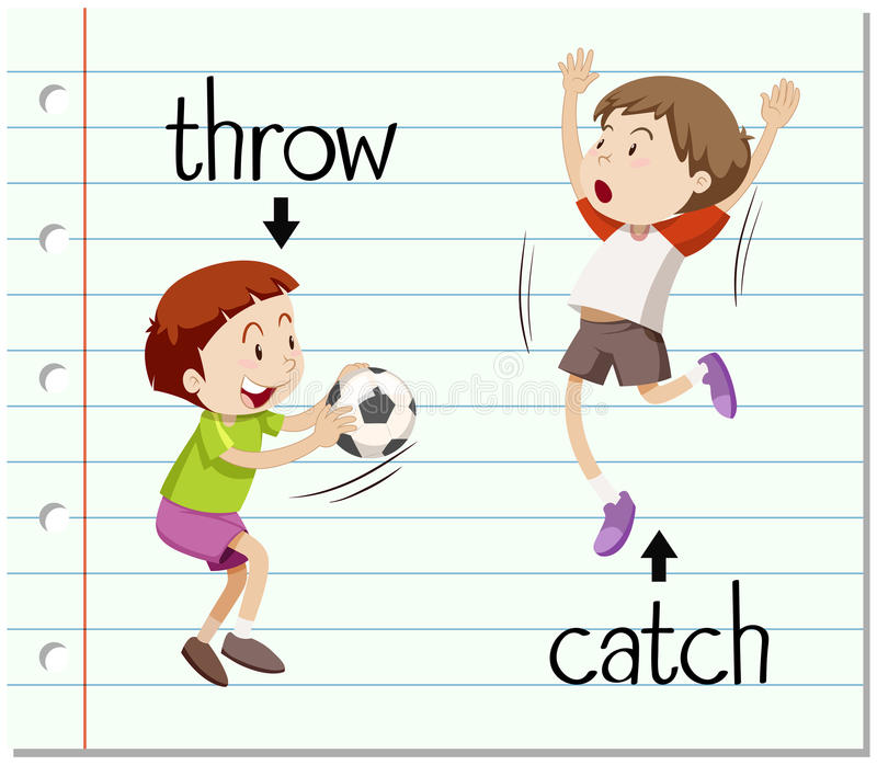 Word card throw and catch. Illustration vector illustration
