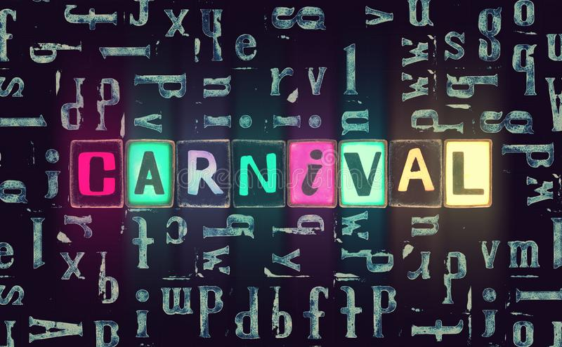 The word Carnival with neon luminous glowing, unique typeset letters abstract mosaic pattern background, lettering symbols set royalty free illustration
