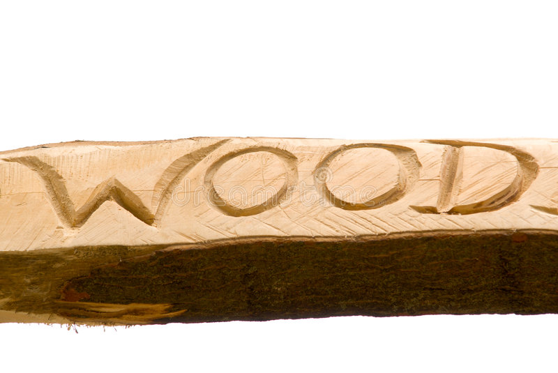 Word carved in the wood royalty free stock image