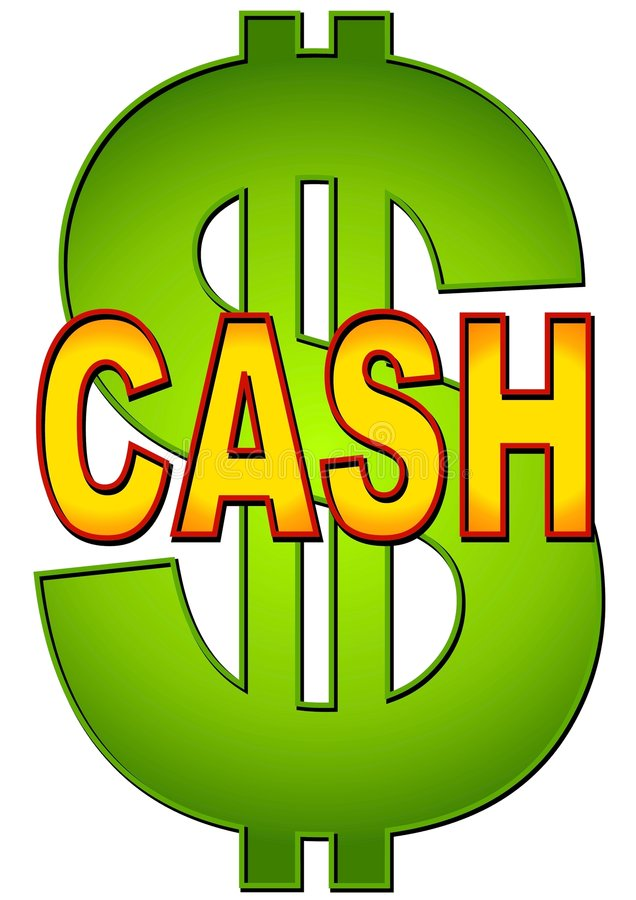 Word Cash With Dollar Sign royalty free illustration
