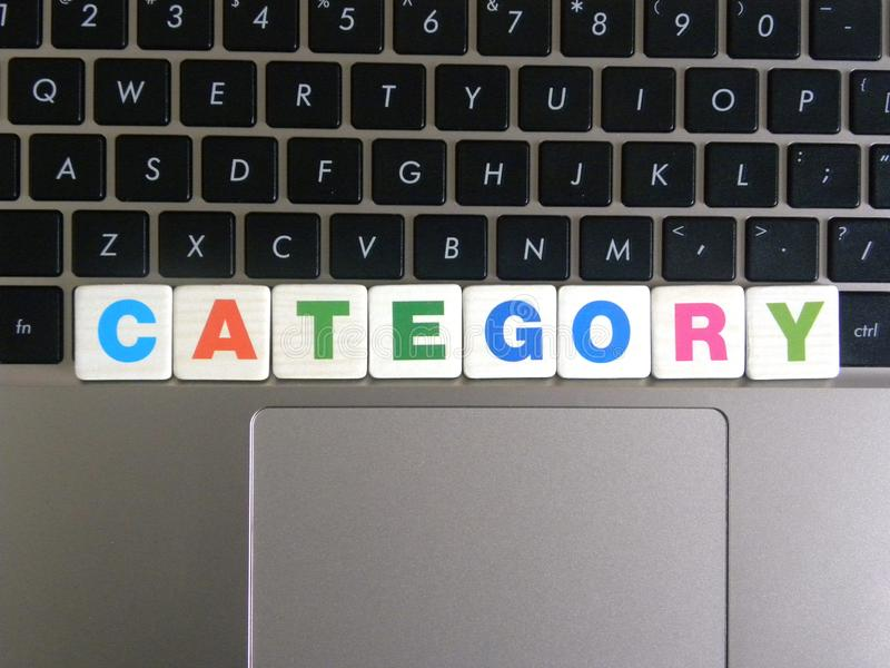 Word Category on keyboard background.  royalty free stock image