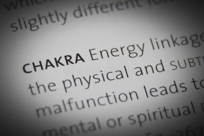 The word Chakra close up on paper royalty free stock images