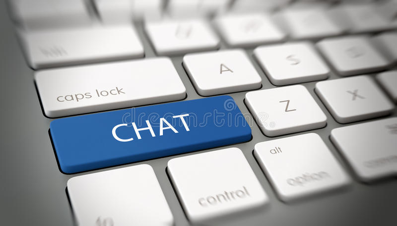 Word CHAT on a key on a modern keyboard. Online or internet concept with white text - CHAT - on a blue enter key on a white computer keyboard viewed at an vector illustration