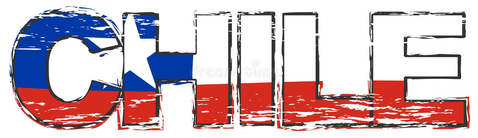Word CHILE with Chilean national flag under it, distressed grunge look royalty free illustration