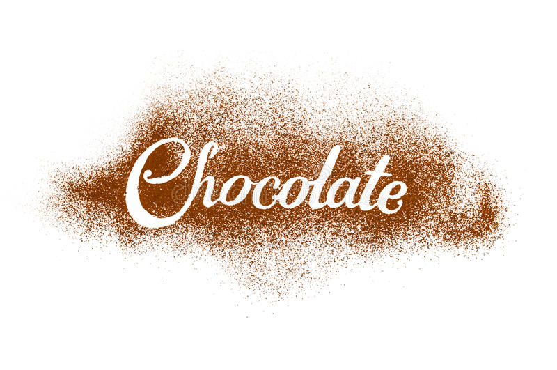 The word Chocolate written by cocoa powder royalty free stock photography