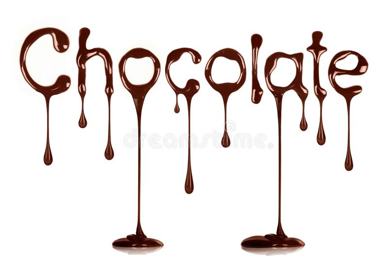 The word Chocolate written by liquid chocolate on white. Background royalty free stock images