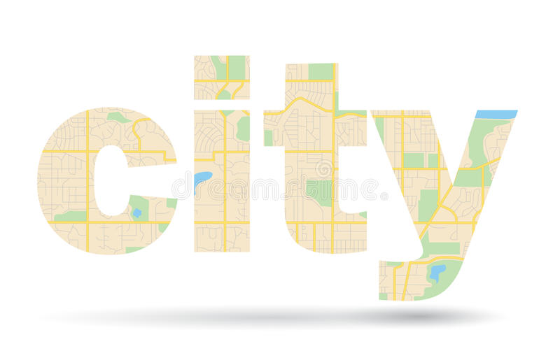 Word City with streets scheme - map - vector stock illustration
