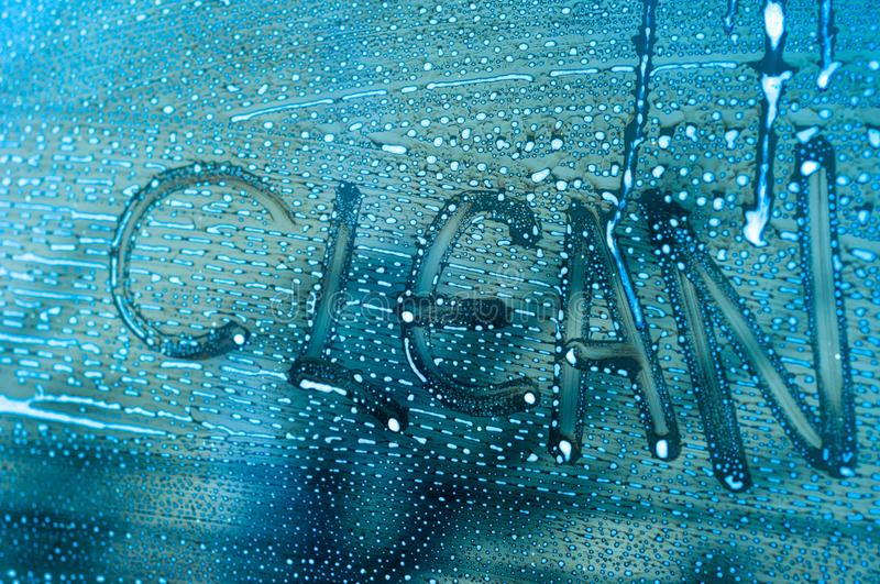 Word Clean on a car window royalty free stock images
