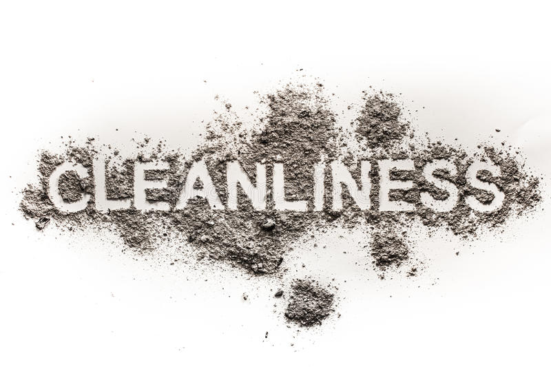 Word cleanliness as text in dirt, ash, dust, filth as filthy, ga. Rbage, unclean, dirty word concept background royalty free stock image