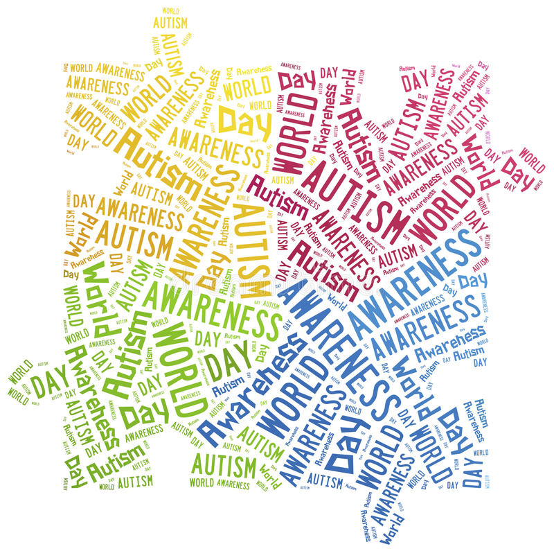 Word cloud autism awareness related royalty free illustration