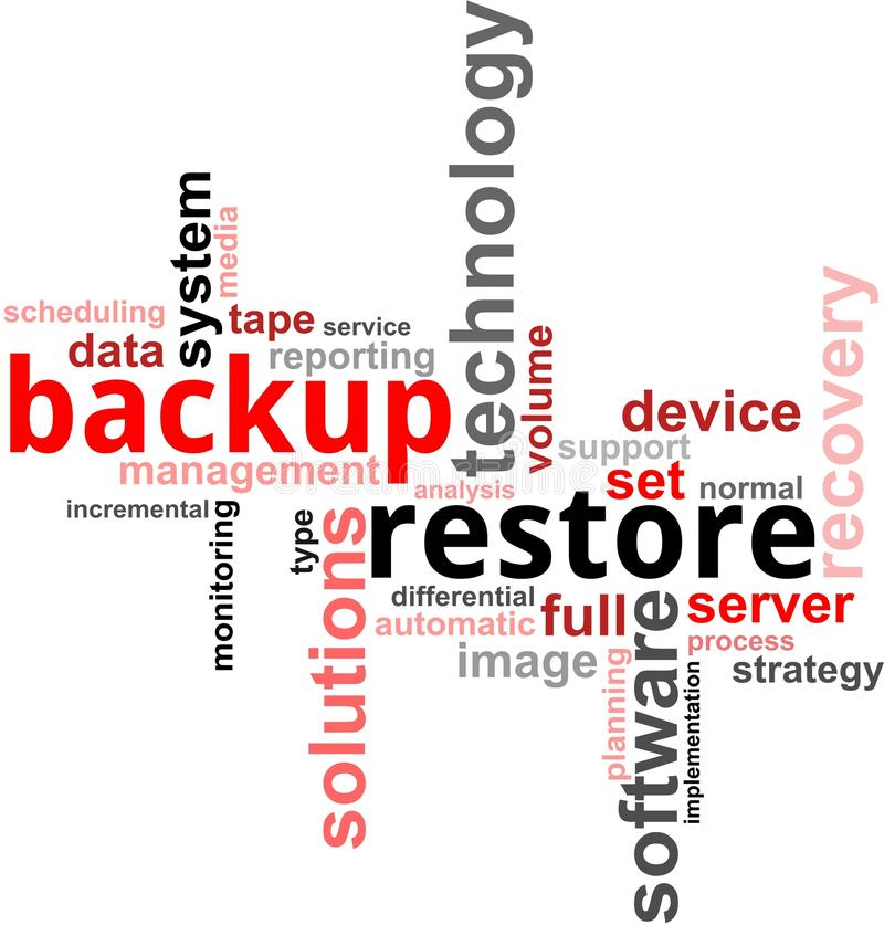 Word cloud - backup restore royalty free illustration