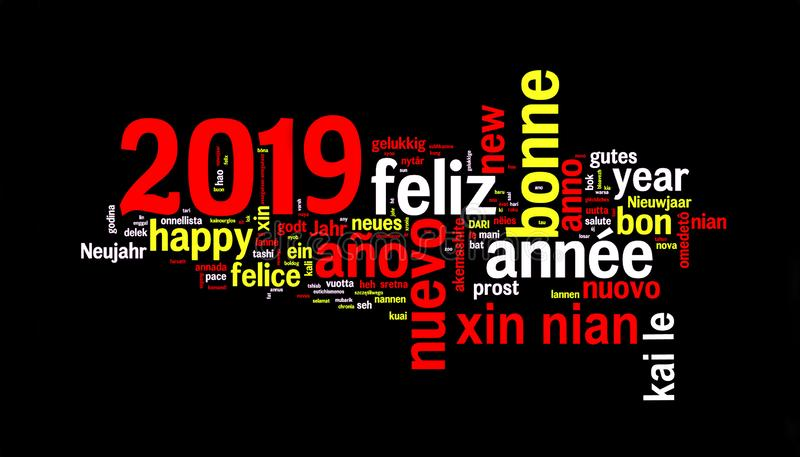 2019 word cloud on black background, new year in many languages vector illustration