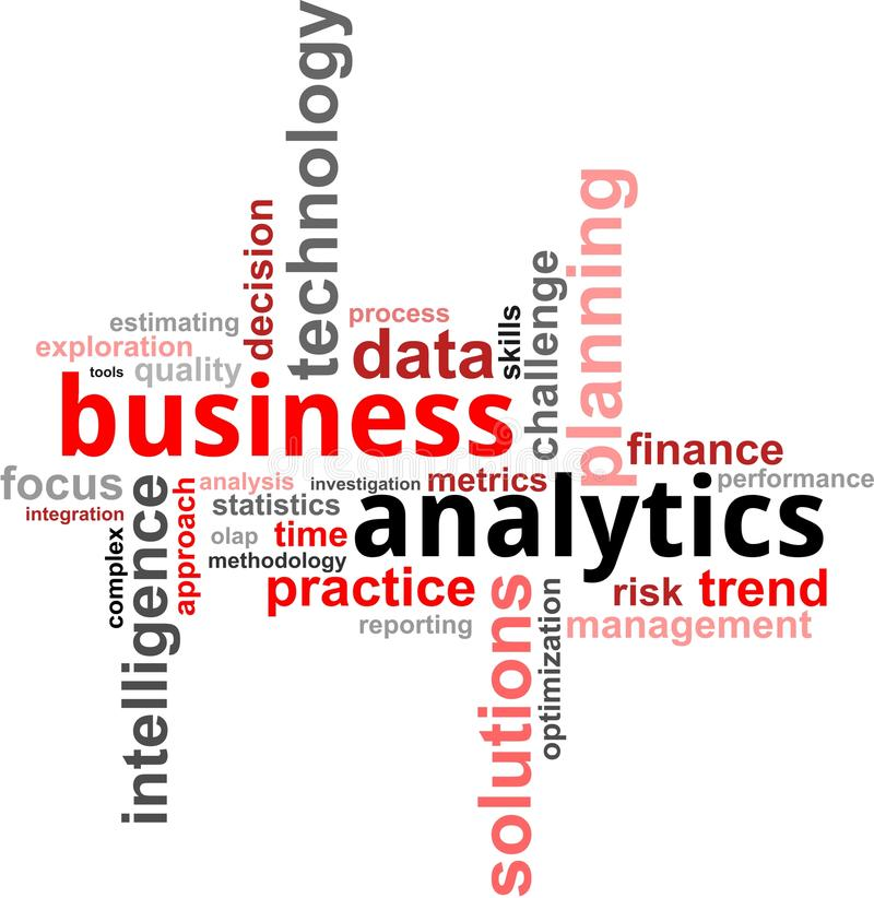 Word cloud - business analytics. A word cloud of business analytics related items