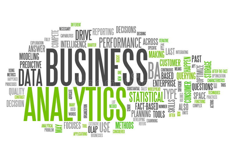 Word Cloud Business Analytics. Word Cloud with Business Analytics related tags stock illustration