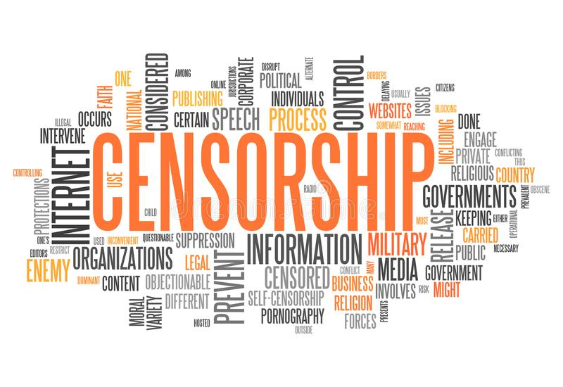 Word Cloud Censorship. Word Cloud with Censorship related tags stock illustration