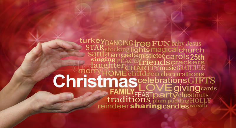Word Cloud for Christmas. Female hands and a CHRISTMAS word cloud on a sparkling glittery red bokeh background stock illustration