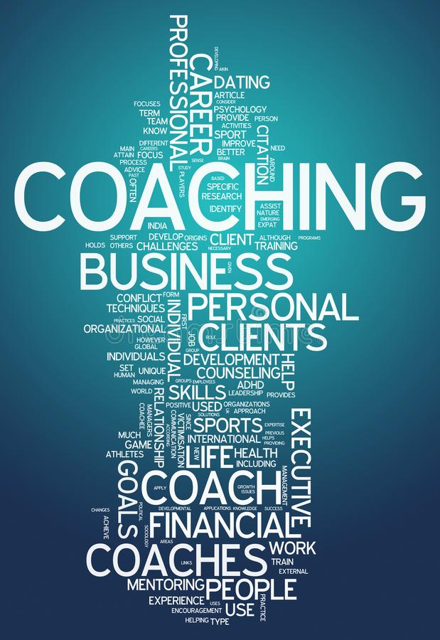 Word Cloud Coaching. Word Cloud with Coaching related tags vector illustration