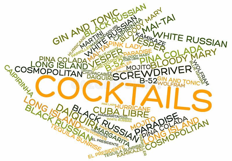 Word cloud for Cocktails. Abstract word cloud for Cocktails with related keywords and terms vector illustration