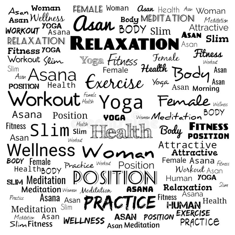 Word cloud concept illustration on black ,background for web-page,yoga text for t-shirt,yoga background for web-page royalty free illustration
