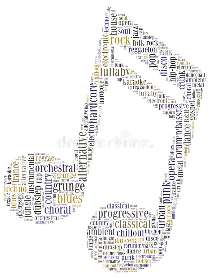 Word cloud concept of music genres stock illustration