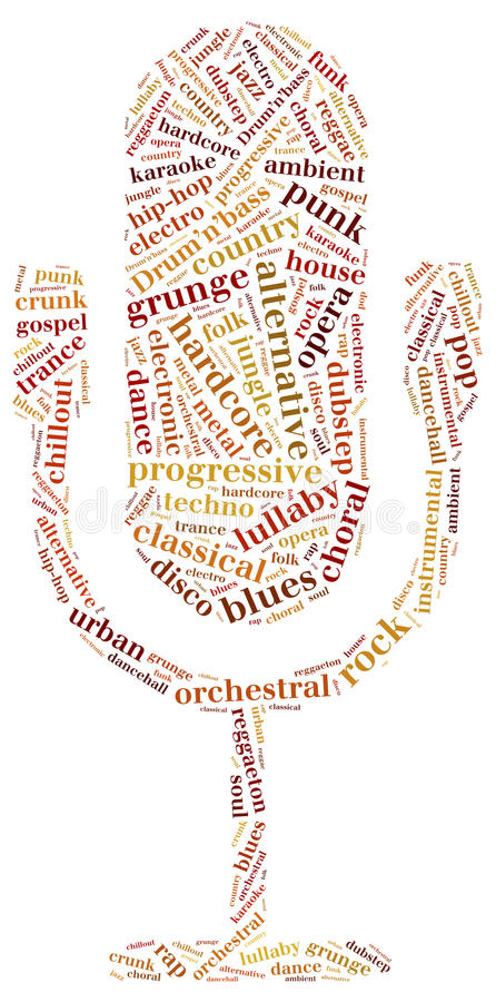 Word cloud concept of music genres vector illustration