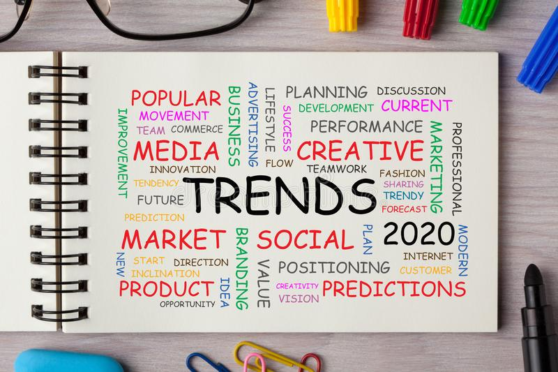 Trends 2020 Word Cloud royalty free stock photography