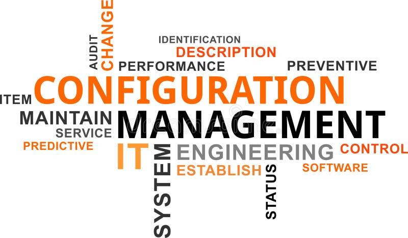 Word cloud - configuration management. A word cloud of configuration management related items stock illustration