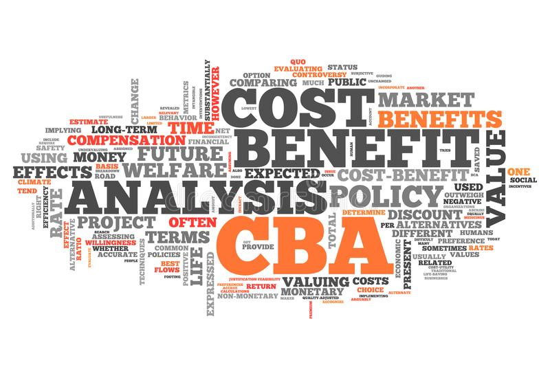 Word Cloud Cost-Benefit Analysis. Word Cloud with Cost-Benefit Analysis related tags stock illustration