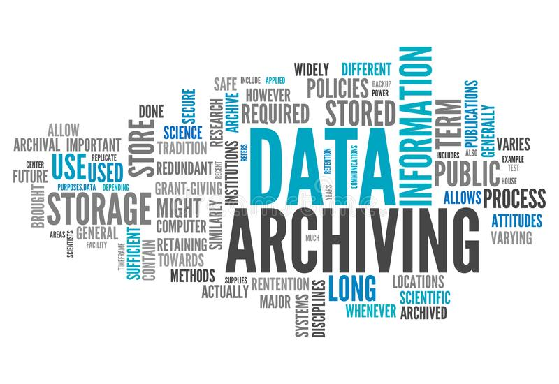 Word Cloud Data Archiving royalty free illustration