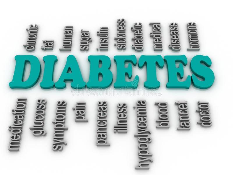 Word cloud - diabetes stock illustration