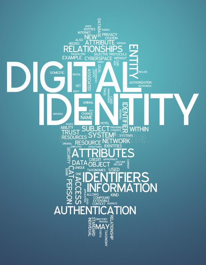 Word Cloud Digital Identity. Word Cloud with Digital Identity related tags vector illustration