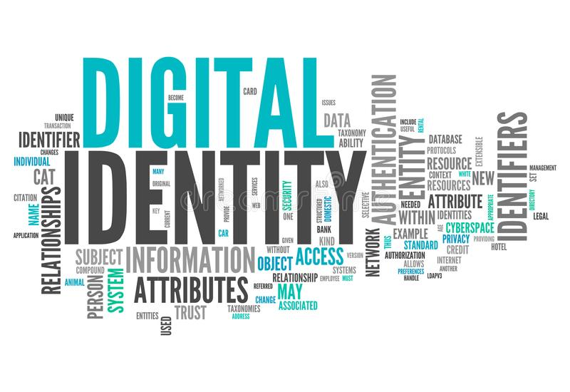 Word Cloud Digital Identity. Word Cloud with Digital Identity related tags royalty free illustration