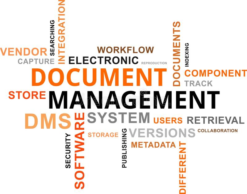 Word cloud - document management vector illustration
