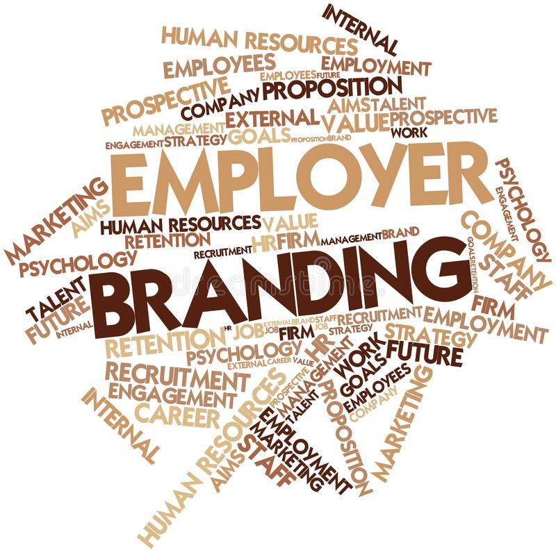 Word cloud for Employer Branding. Abstract word cloud for Employer Branding with related tags and terms stock illustration
