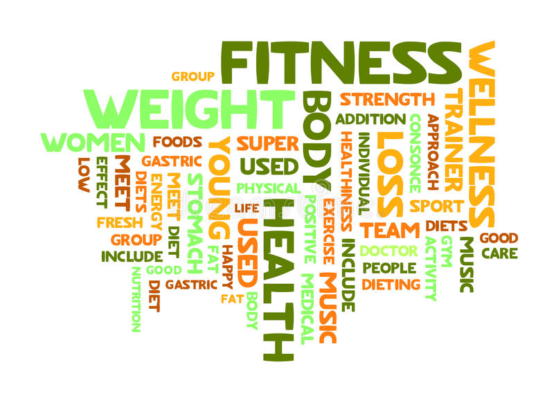 Word cloud of fitness royalty free illustration