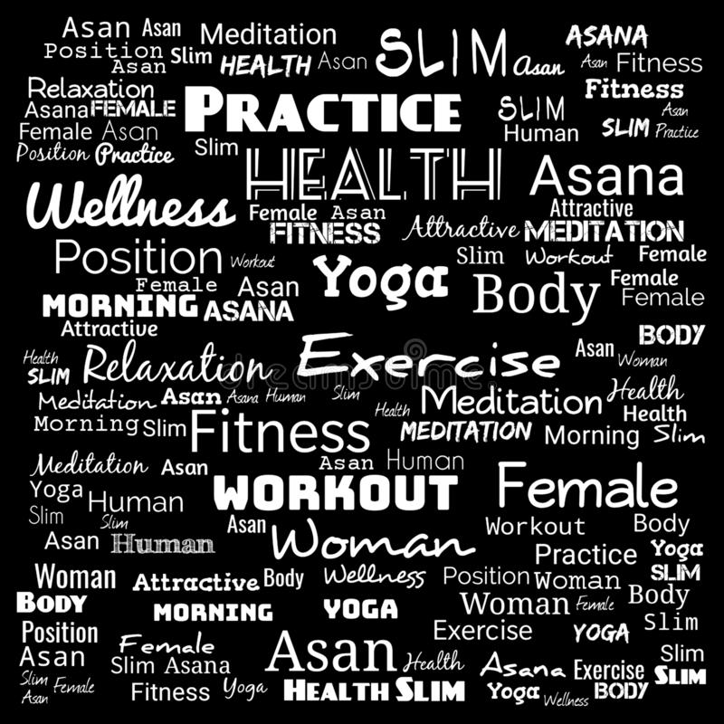 Word cloud illustration on black ,background for web-page,yoga text for t-shirt,yoga background for web-page royalty free illustration