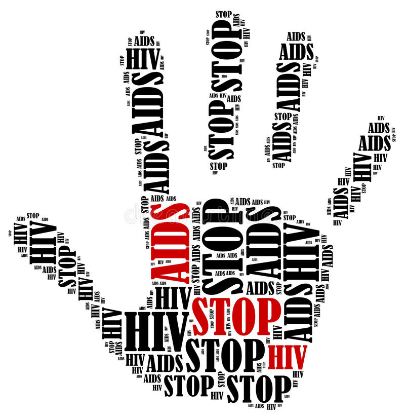 Word cloud illustration in shape of hand print showing protest. Stop AIDS and HIV. Word cloud illustration in shape of hand print showing protest stock illustration