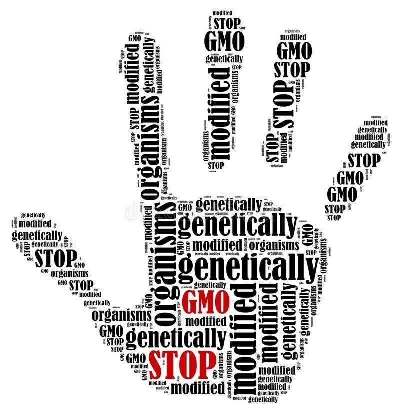 Word cloud illustration in shape of hand print showing protest. Stop GMO. Word cloud illustration in shape of hand print showing protest royalty free illustration