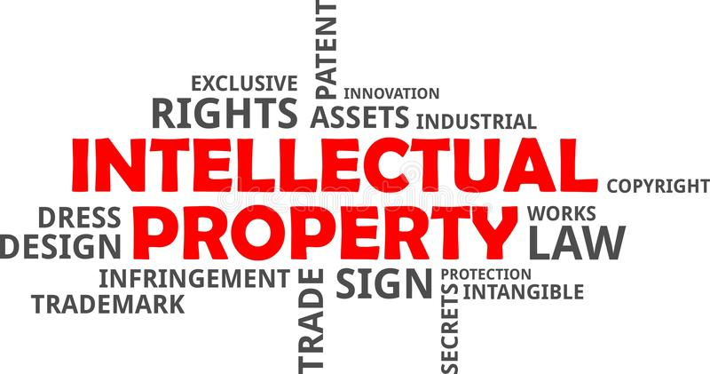 Word cloud - intellectual property. A word cloud of intellectual property related items royalty free illustration