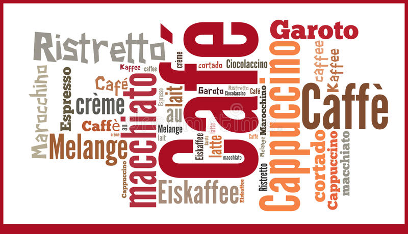 Word Cloud international seicialities of Coffee royalty free illustration