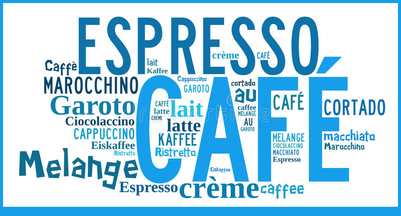 Word Cloud international specialities of Coffee vector illustration