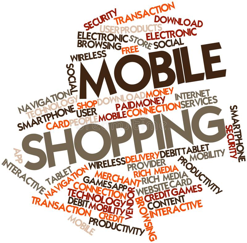Word cloud for Mobile Shopping stock illustration