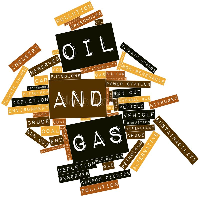 Word cloud for Oil and Gas. Abstract word cloud for Oil and Gas with related tags and terms vector illustration