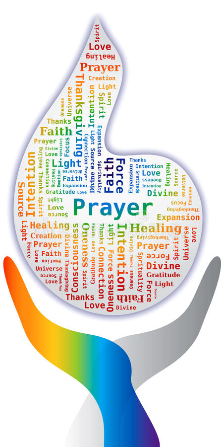 Download Word Cloud - Prayer In Flame Shape With Hands Stock Vector - Image: 22173451