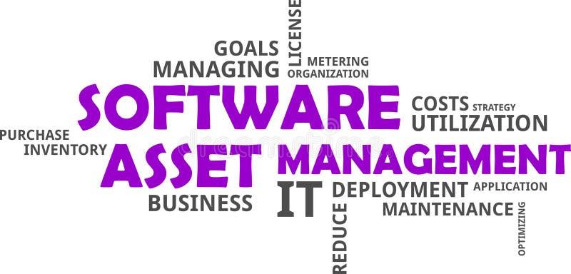 Word cloud - software asset management. A word cloud of software asset management related items stock illustration